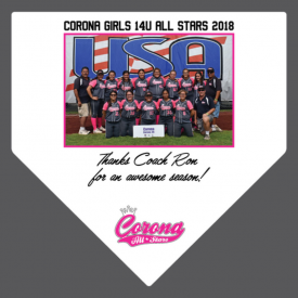 Corona Girls Coach Thank You Home Plates